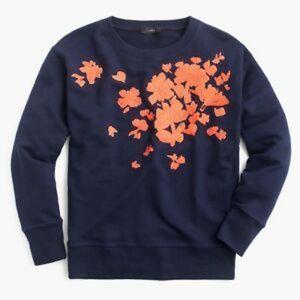 J. Crew Navy Blue Floral Crew Neck Sweatshirt